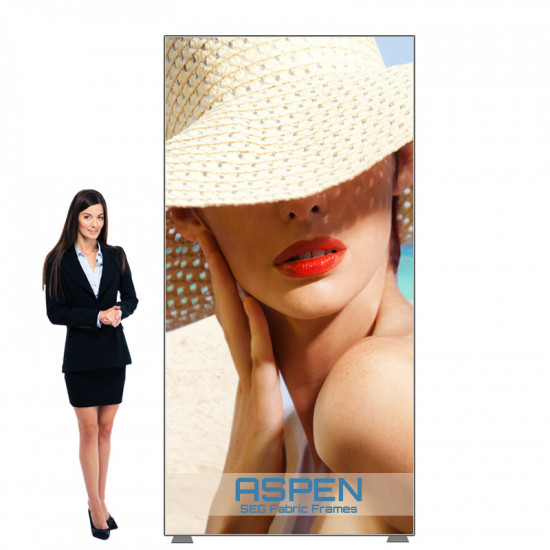Aspen Portable Fabric Poster Frame 4ft x 7ft with SEG Graphics