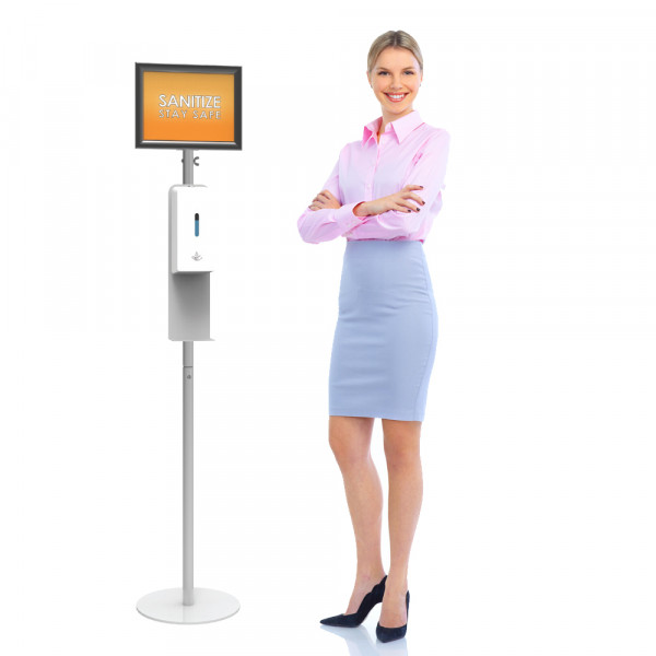Trappa Sanitizer Station Poster Frame with Hands Free Dispenser