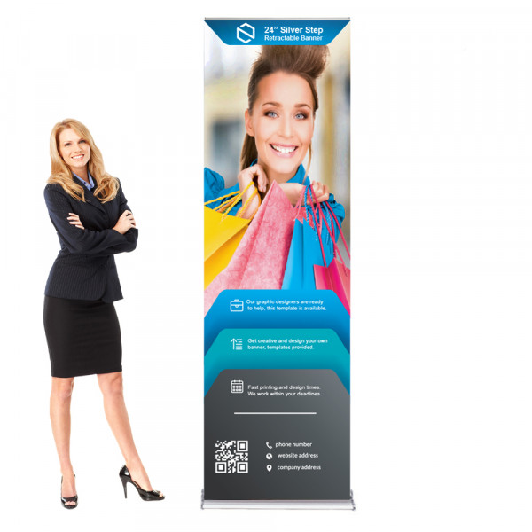 """Silverstep Retractable Banner Stand 2ft Wide, 85"""" - 92"""" High"""
