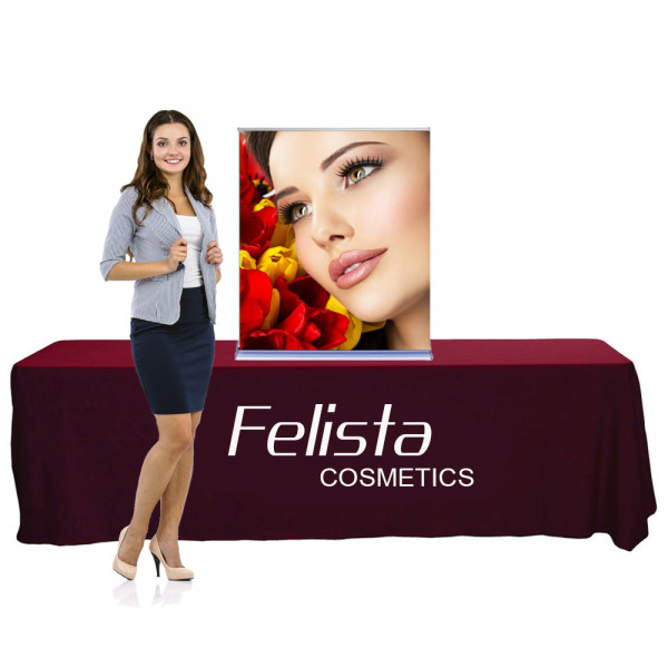 Silverstep Tabletop Retractable Banner Stand 3ft Wide, 3ft or 5ft tall