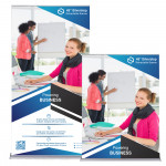 """Silverstep Retractable Banner Stand 4ft Wide, 69"""" - 92"""" High"""