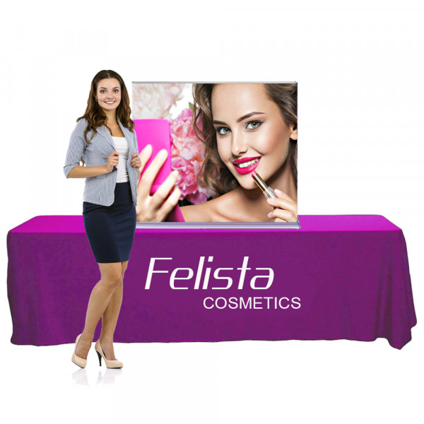 """Silverstep Tabletop Retractable Banner Stand 4ft Wide, 36""""or 59"""" High"""