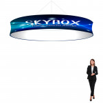 Skybox Circle Hanging Banner 15'w x 24in high with Custom Printed Graphics