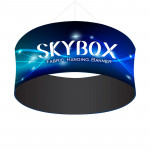 Skybox Round Banner Hanging Signage 8'w x 4'h with Custom Graphics