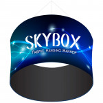 Skybox Round Hanging Banner 8'w x 6' with Custom Printed Graphics