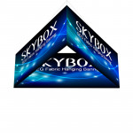 Skybox Triangle Banner Hanging Display 8'w x 42h with Fabric Graphics
