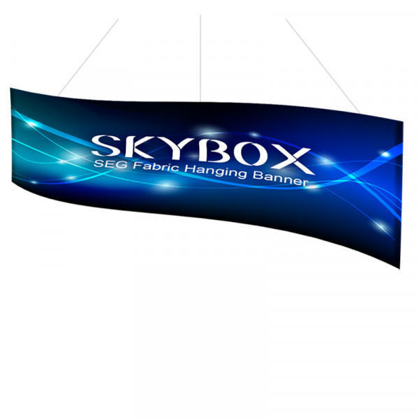 Skybox Wave Banner Hanging Signage 16ft x 4ft with Fabric Graphics