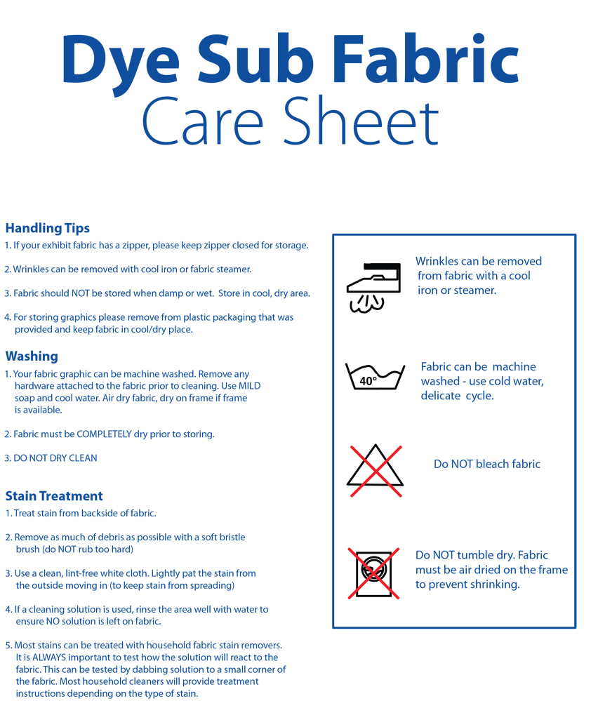 Dye Sublimated Fabric Care Sheet