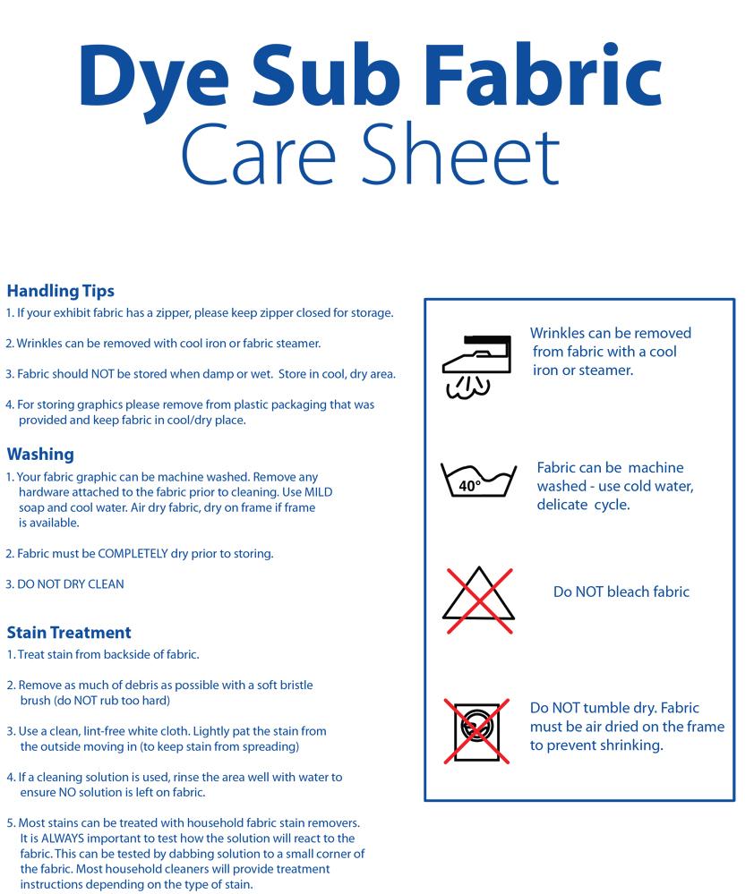 Dye Sublimated Fabric Care Sheet